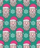 Patroon met hand getrokken hoofd van Kerstman Royalty-vrije Stock Foto