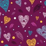 Patroon met harten en vogels Stock Foto