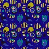 Patroon met heldere gestroomlijnde voorwerpen, abstract patroon op een ultramarijnachtergrond Vector Illustratie