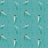 Patroon met het drijven in een transparante mooie rivier van meisjes Stock Afbeeldingen