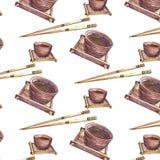 Patroon met hinese koppen Ñ  en eetstokjes royalty-vrije illustratie