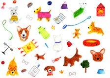 Patroon met honden en heldere voorwerpen De illustratie van de waterverf Stock Afbeeldingen