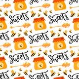 Patroon met honing en bij Naadloze zoete vectorachtergrond Stock Foto