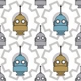 Patroon met hoofden van robots op een achtergrond van toestellen Royalty-vrije Stock Fotografie