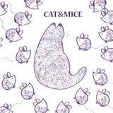 patroon met kat en muizen stock illustratie