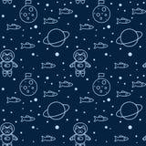 Patroon met kat in ruimte vector illustratie