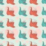 Patroon met katje-gehuwd Royalty-vrije Illustratie