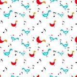 Patroon met kippen en muziek Stock Foto's