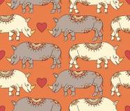 Patroon met kleurrijke rinocerossen Stock Afbeelding
