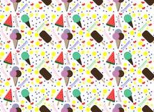patroon met kleurrijke roomijs en cirkels Stock Fotografie