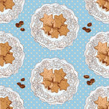 Patroon met koekjes en koffiebonen Royalty-vrije Stock Foto's