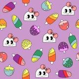 Patroon met krabbelmeisjes en ijs creames stock illustratie