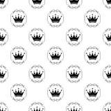 patroon met kronen in uitstekend kader Vector royalty-vrije illustratie