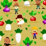 patroon met leuke radijs op gebied en landbouwer, groenten en de stijl van het arbeidersbeeldverhaal, vector royalty-vrije stock afbeelding