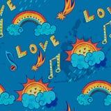 Patroon met liefde, muziek en weersymbolen Stock Fotografie
