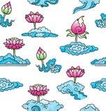 Patroon met lotusbloembloemen en wolken vector illustratie