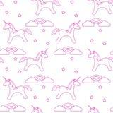 Patroon met magische eenhoorn, sterren, wolken, regenboog vector illustratie