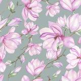 Patroon met magnolia's Royalty-vrije Stock Afbeeldingen