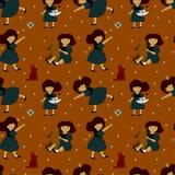 Patroon met meisjes en speelgoed in heldere kleuren Stock Illustratie
