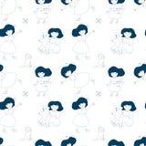 Patroon met meisjes en speelgoed op een witte achtergrond Stock Foto's