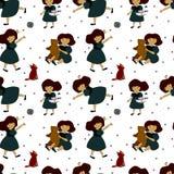 Patroon met meisjes en verschillend speelgoed Stock Foto