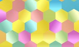 Patroon met multi-colored zeshoeken Eenvoudige geometrische achtergrond Mozaïekstijl Vector illustratie Royalty-vrije Stock Afbeeldingen