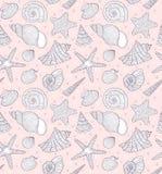 Patroon met oceaanshells stock illustratie