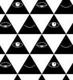 Patroon met ogen en lippen Open en gesloten ogen in driehoek Royalty-vrije Stock Foto