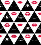 Patroon met ogen Open en gesloten ogen in driehoek, vector Stock Fotografie