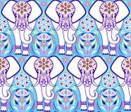 Patroon met olifant en abstracte bloemen royalty-vrije illustratie