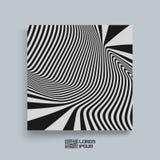 Patroon met optische illusie Zwart-witte achtergrond Het malplaatje van het dekkingsontwerp royalty-vrije illustratie