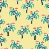 Patroon met Palmen en wolken royalty-vrije illustratie
