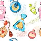 Patroon met parfumflessen Stock Foto's