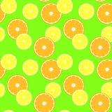 Patroon met plakcitrusvruchten - citroen en sinaasappel Royalty-vrije Stock Foto's