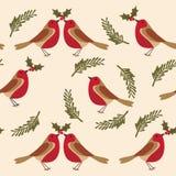Patroon met Robin de vogel bladeren, hulstbessen stock illustratie