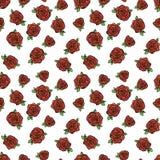 Patroon met rode rozen Stock Afbeelding
