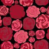 Patroon met rode rozen op zwarte Stock Afbeeldingen