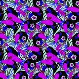 Patroon met roze en blauwe tropische bloemen royalty-vrije illustratie