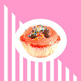 Patroon met roze muffin Stock Foto