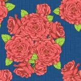 Patroon met rozen en textuur op achtergrond Royalty-vrije Stock Afbeelding