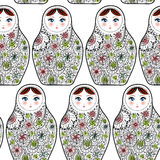 Patroon met Russische poppenmatrioshka Babushka op schets witte achtergrond Stock Foto's