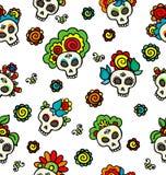 Patroon met schedel-catrinas stock illustratie