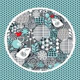 Patroon met sneeuwvogels, harten en bloemen. Royalty-vrije Stock Fotografie