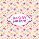 Patroon met snoepjes en gebakjes Stock Afbeeldingen