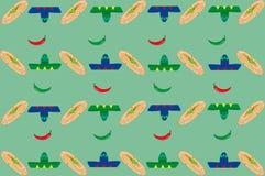 Patroon met sombrero's en burritos Royalty-vrije Stock Afbeelding