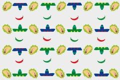 Patroon met sombrero's en taco's Stock Afbeeldingen