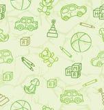 Patroon met speelgoed op een lichtgroene achtergrond vector illustratie