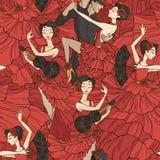 Patroon met tango en flamencodansers Royalty-vrije Stock Afbeeldingen