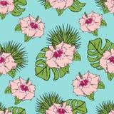 Patroon met tropische bladeren en bloemen Op een blauwe achtergrond Stock Foto