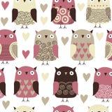 Patroon met uilen Stock Afbeelding